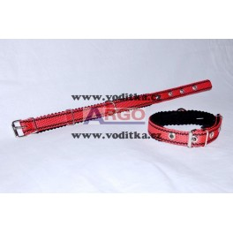Obojek šíře 2,5cm (červený s černými proužky)