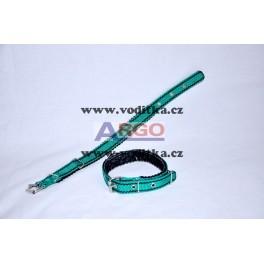 Obojek šíře 2cm (zelený s černými proužky)